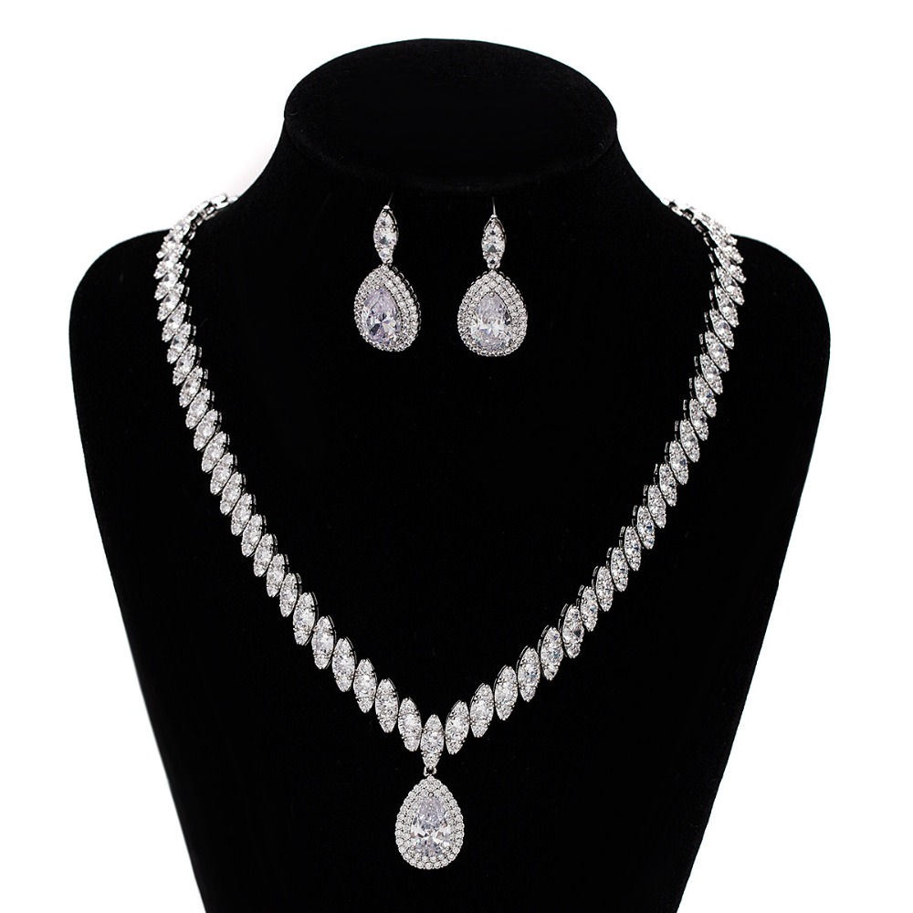 original 925 Sterling Silver drop water marquise cut Jewelry set for Women Wedding bride Crystal drop Earring Necklace J4809 artificial crystal geometric water drop necklace