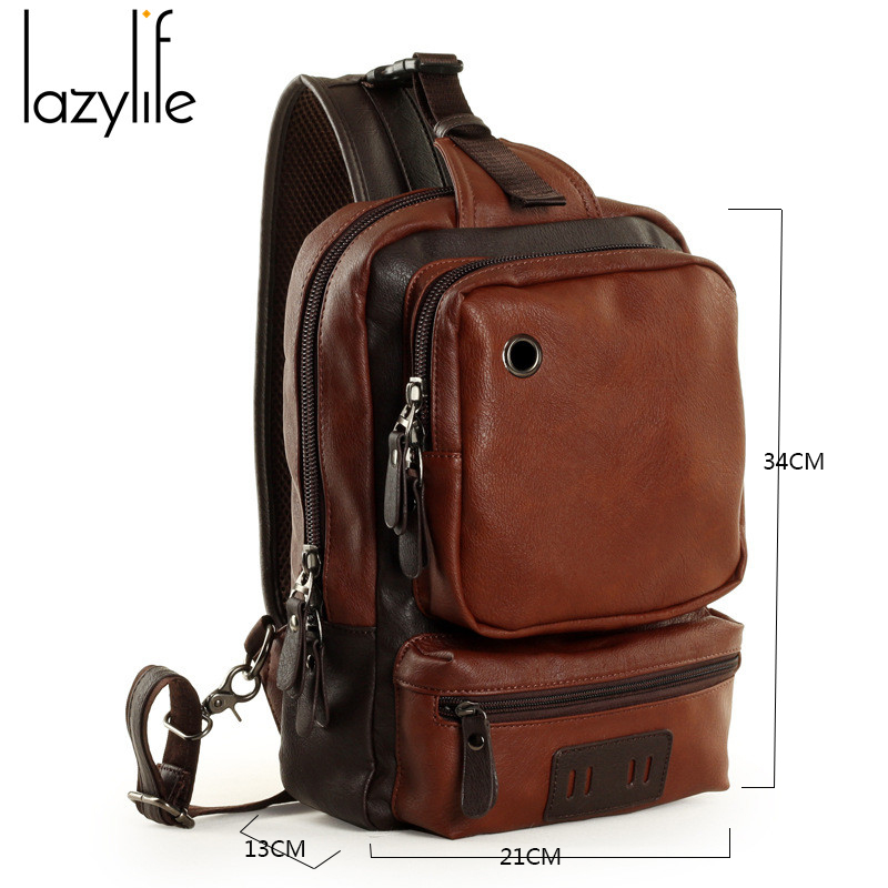 6672f3943c LAZYLIFE Ship From RU Bag for Men PU Leather School Bags Male Messenger Bag  Chest Sling Crossbody Bag Street Tide -in Waist Packs from Luggage   Bags  on ...