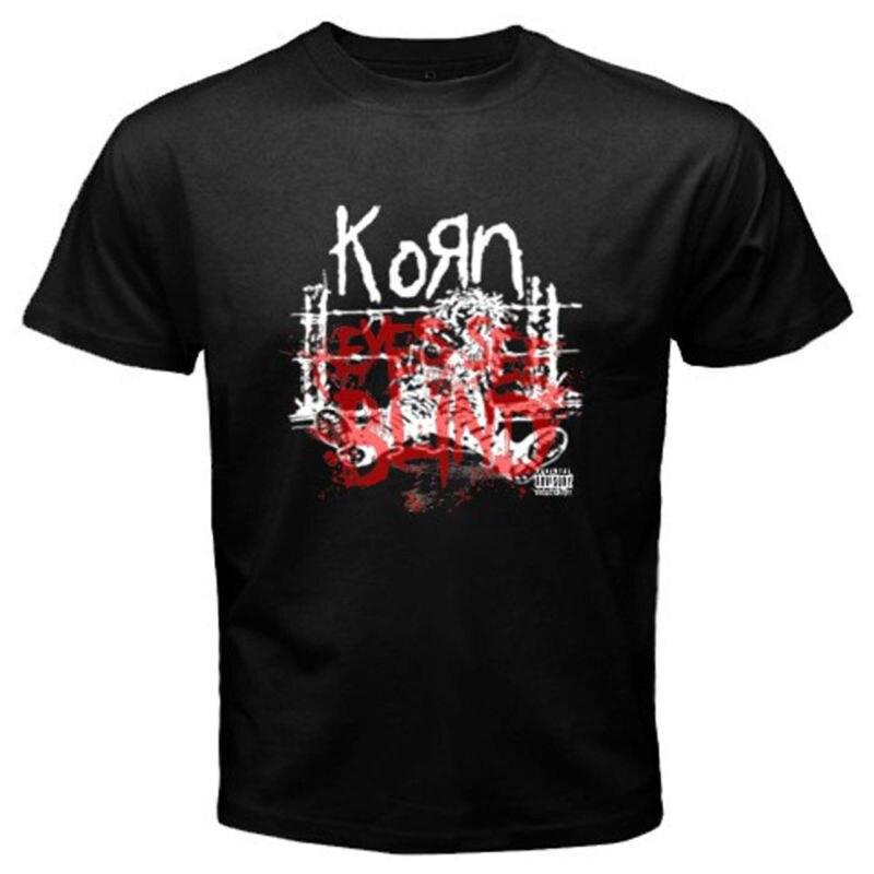 Shirt Shop Mens O-Neck New Korn Eyes See Blind Alternative Rock Band Men T-Shirt Black Short Sleeve Christmas Shirt
