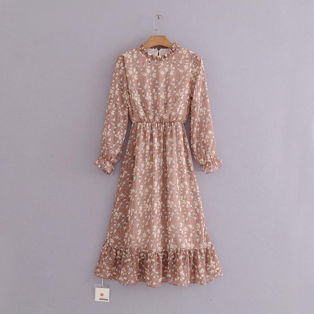 4969c08c3394 2019 QPFJQD Spring Sweet Shirred Collar And Cuff Floral Dress Long ...
