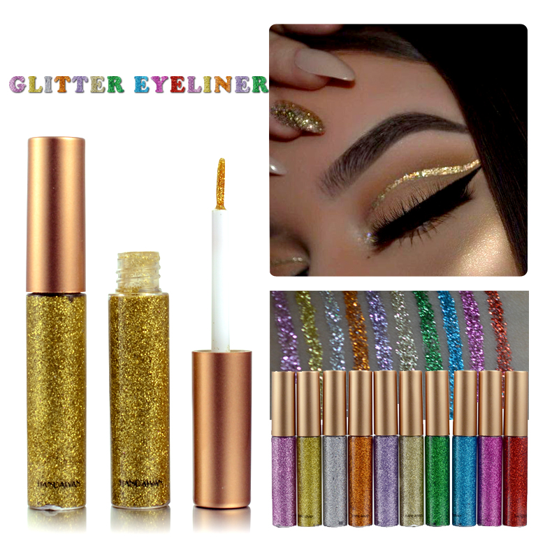 HANDAIYAN Brand 1 Pcs Glitter Liquid Eyeliner Pen 10 Colors Metallic Shine Eye Shadow & Liner Combination Pencil Eyes Makeup free shipping 3 pp eyeliner liquid empty pipe pointed thin liquid eyeliner colour makeup tools lfrosted purple