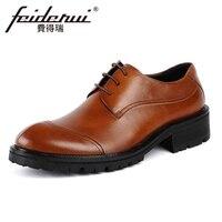 2018 Casual Genuine Leather Handmade Men S Footwear Round Toe Derby Man Office Platform Formal Dress