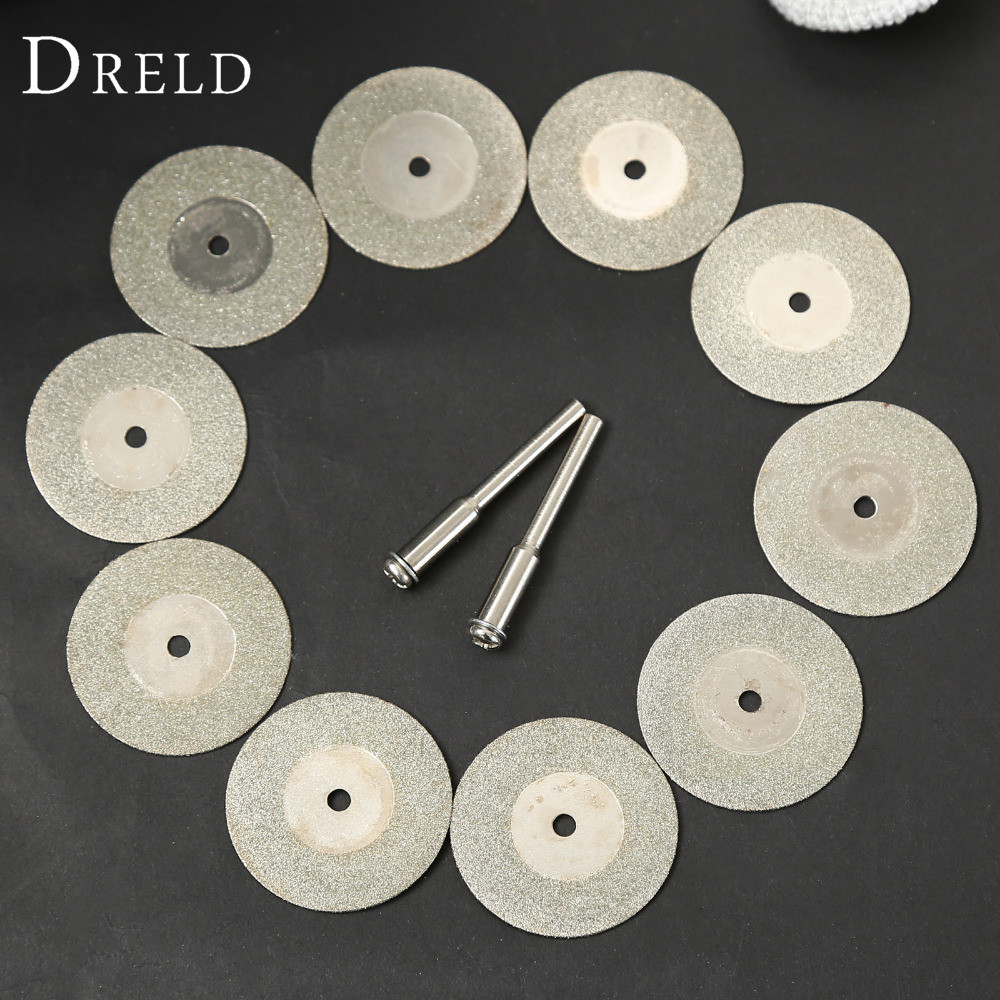 10pcs 30mm Diamond Cutting Discs Cut Off Blade Drill Bit for Dremel Rotary Tool Abrasive Disc dremel accessories disco de corte 5pc high quality emery diamond coated double side cutting discs cut off blade grinding disc for dremel rotary tools 1 mandrel