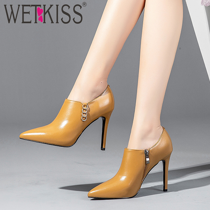 WETKISS Genuine Leather Women Pumps Pointed Toe Cover Instep Footwear Crystal Fashion Female Shoes High Heels