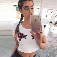 American Apparel T Shirt Women Sexy Embroidery Roses Crop Top Short Sleeve Tshirt Women Tops Bts