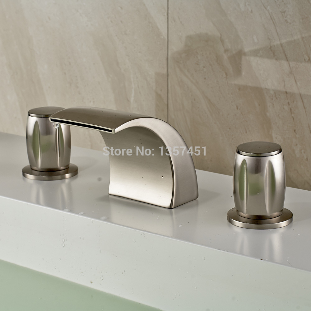 Attrayant LED Light Waterfall Bathroom Sink Faucet 3 Holes Basin Mixer Tap Brushed  Nickel In Basin Faucets From Home Improvement On Aliexpress.com | Alibaba  Group