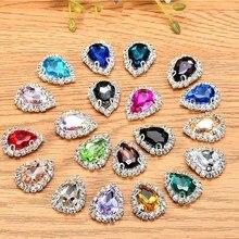 100pieces Multicolor drop shape rhinestone flatback glass sew on bags/Christmas Garment decoration-can mix color