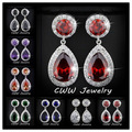 Fashion Red Created Ruby Amethyst Green 2.8 Carat Large CZ Crystal Long Drop Earrings For Women CZ014