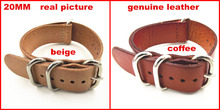 zulu strap New arrived – 1PCS High quality 20MM Nato strap genuine leather Watch band NATO straps watch strap-100802