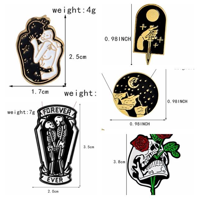 Skeleton pins Skull pins Skull lover brooches Enamel pins Badges Skeleton jewelry Skull jewelry Gifts for men women lovers