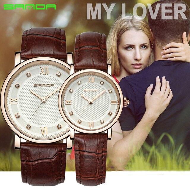 SANDA Brand Couple Watch Sport Quartz Women Wristwatch Casual Fashion leather St