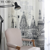 YO CHO European luxury castle window curtains 3d printed fabric window curtain Chinese ready made high quality window decoration