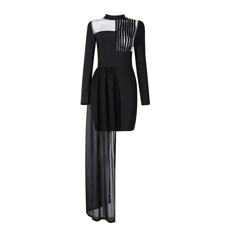 Asymmetric Black Long Sleeve Mesh Patchwork Rayon 2016 New Fashion Turtleneck Bodycon Bandage Dress