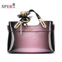New style designer patent leather female tote bags