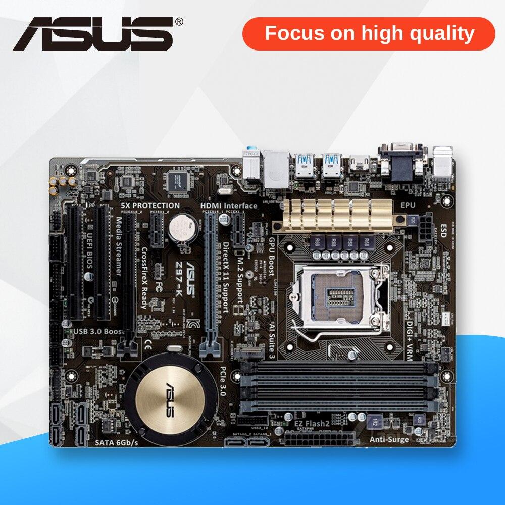 Asus Z97-K Desktop Motherboard Z97 Socket LGA 1150 i7 i5 i3 DDR3 32G SATA3 USB3.0 ATX asus z97 a usb3 1 original used desktop motherboard z97 a usb3 1 z97 socket lga 1150 i7 i5 i3 ddr3 32g sata3 usb3 0 atx