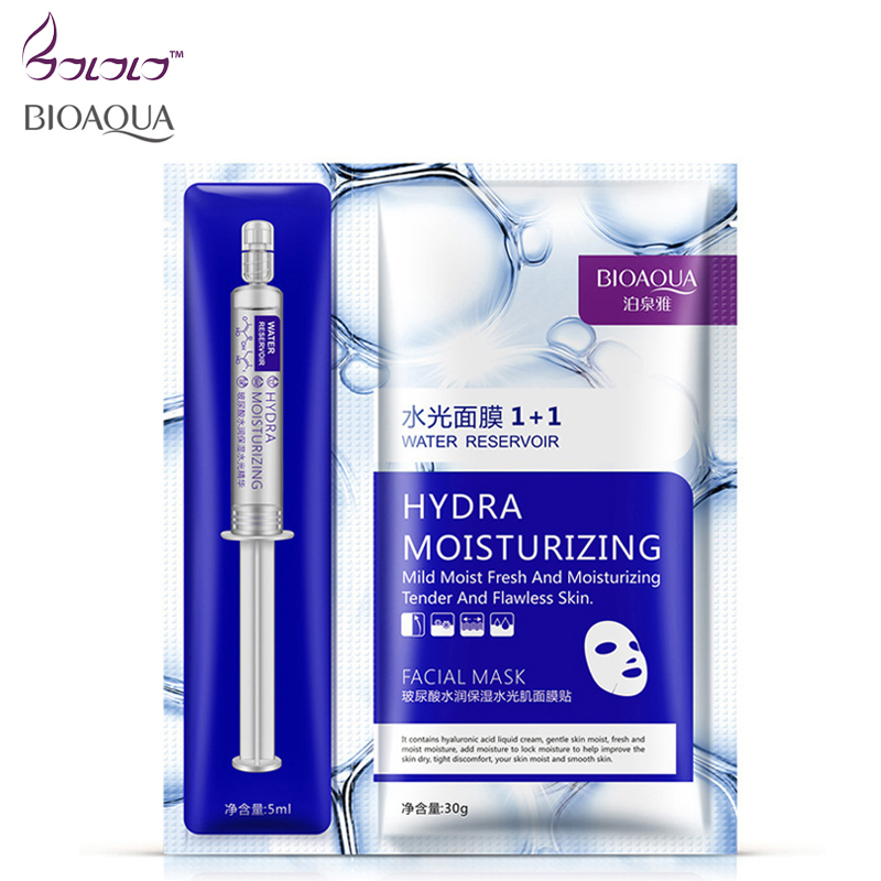 new arrival hyaluronic acid moisturizing essence + facial mask sheet BIOAQUA masks beauty skin care face mask set hydra moisture