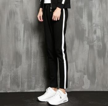 2017 New arrival trend lacing color block skinny pants harem pants male casual trousers straight student pants !