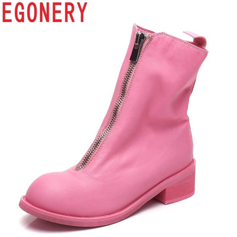 EGONERY women shoes 2018 hot sale newest genuine leather med square heel round toe front zipper pink sweet winter mid calf boots монитор 23 8 benq gw2470he черный va 1920x1080 250 cd m^2 4 ms hdmi vga аудио