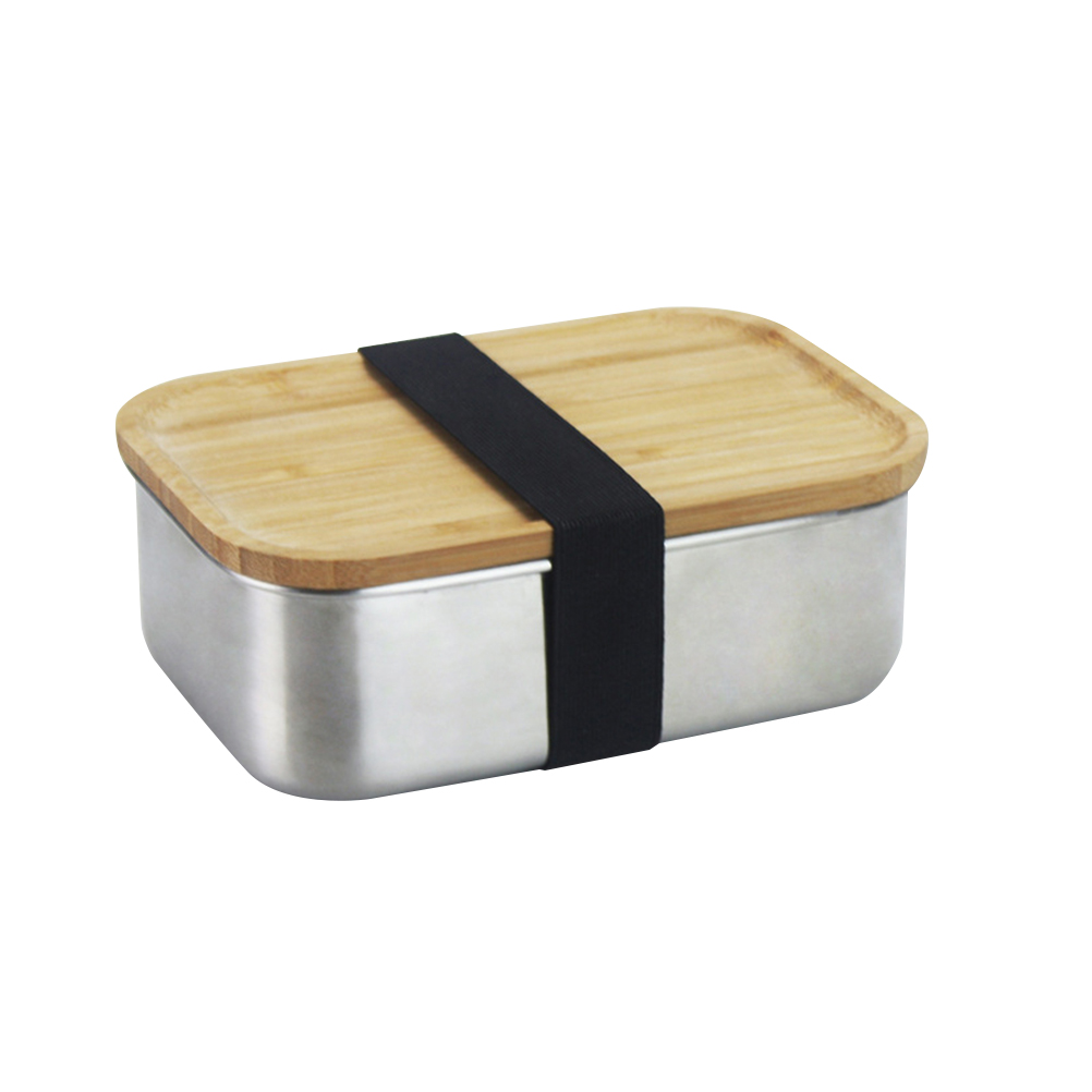 Stainless Steel <font><b>Lunch</b></font> <font><b>Box</b></font> With Wooden Lids Portable Fruit Storage <font><b>Box</b></font> Kitchen Food Container For Kids School Outdoor Picnic image
