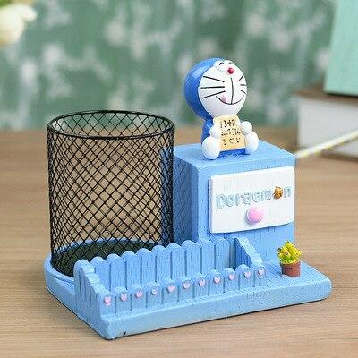 Doraemon doraemon card holder pen holder with small drawer creative student gift resin crafts statue home decoration