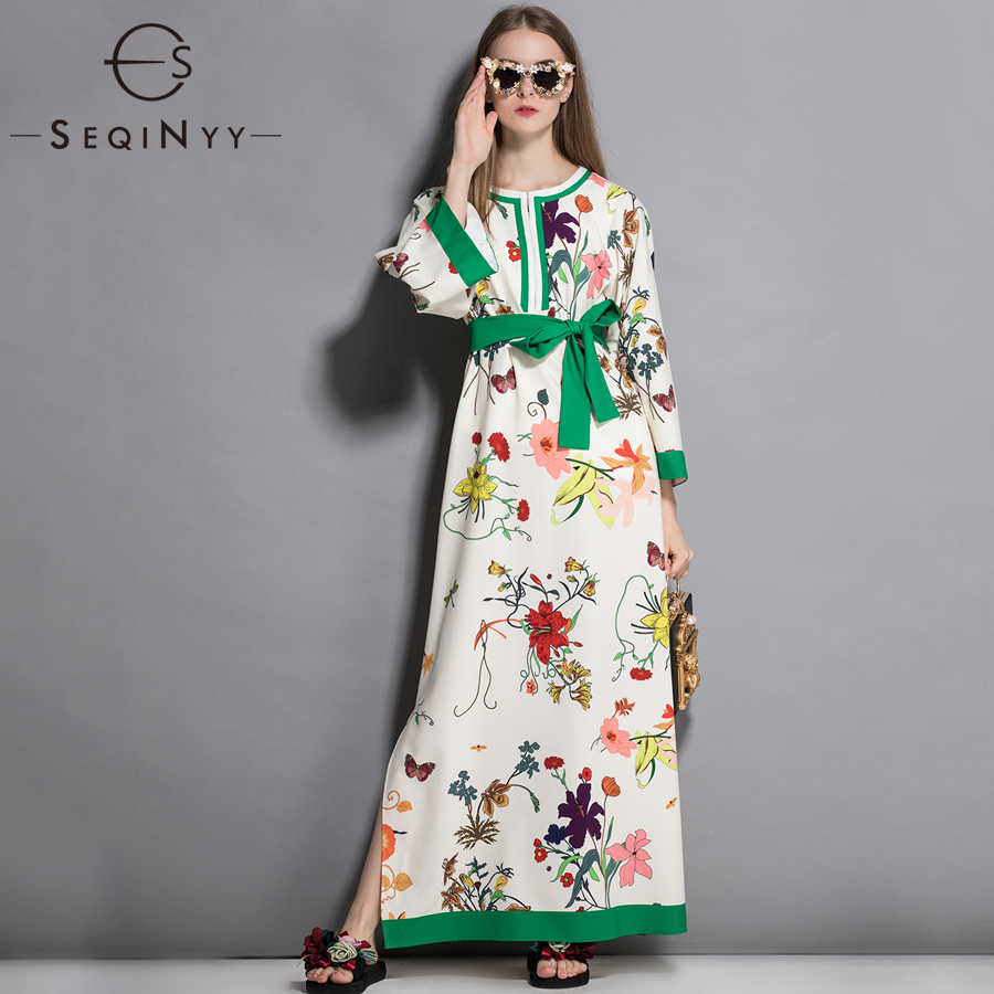 SEQINYY Printed Beige Dress Flowers 2018 Autumn New High Street Ladies Style Green Belt 3 4