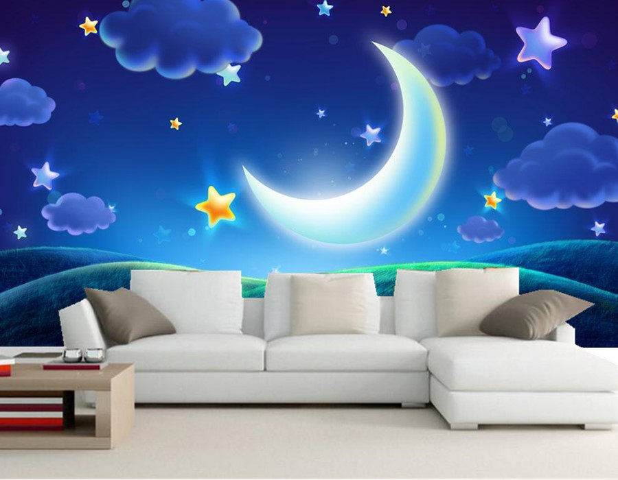 Custom 3d Murals,Cartoon Beautiful Dream Night Sky Wallpaper,living Room  Sofa TV Background Children Bedroom Papel De Parede In Wallpapers From Home  ... Part 25