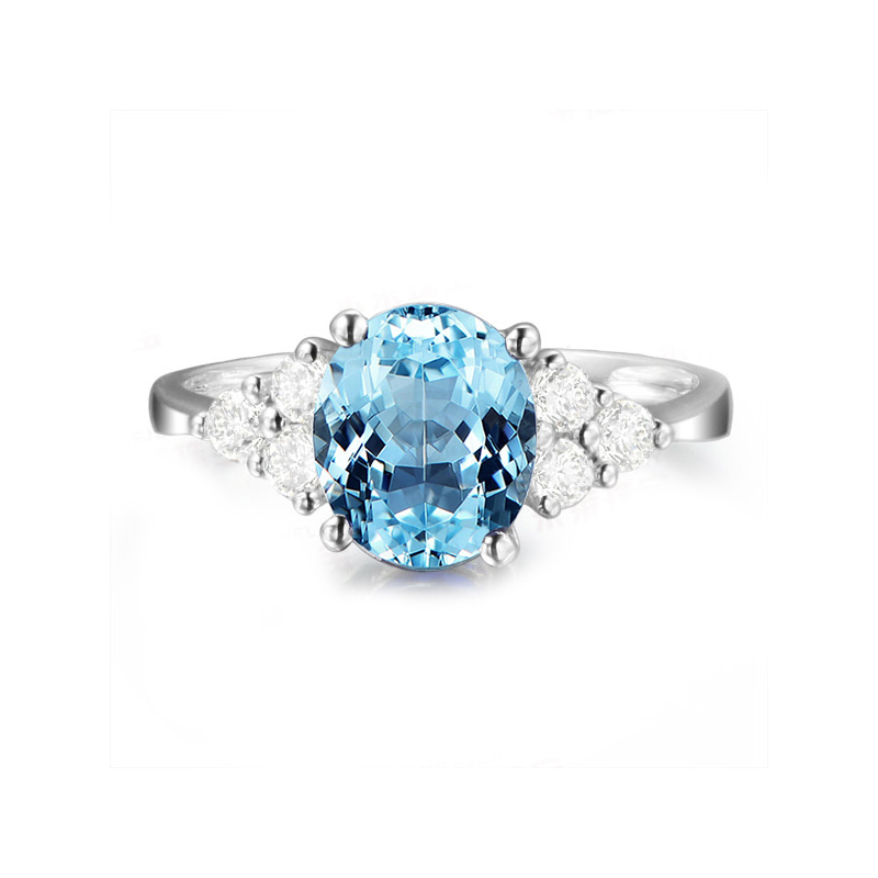 AINUOSHI 2 Carat Oval Cut Natural Blue Topaz Ring Pure 925 Sterling Silver Inlaid Diamond Ring Engagement Wedding Jewelry Ring