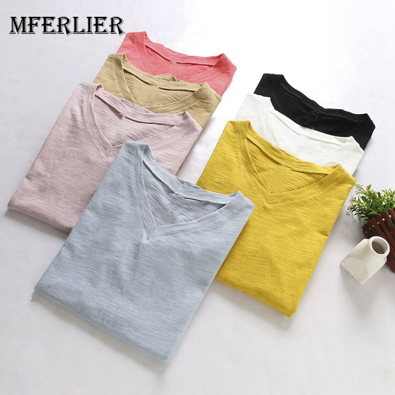 Mferlier Women Candy Color Basic Summer Tee   Shirt   V Neck Short Sleeve Loose Casual Female Blue Pink White   T     Shirt