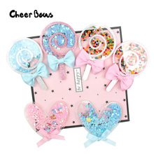 Candy Lollipop Acrylic Accessories Liquid Quicksand Filling Sequins Love Heart Appliques Phone Decor DIY Hair Clips Material 1pc