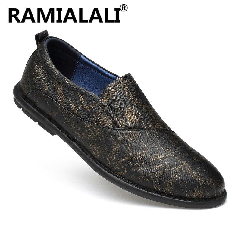 Grande Confort Nouveau Taille gris Cuir Doux Véritable Casual Appartements De Hommes En Mode Chaussures Or xTxHPSZ