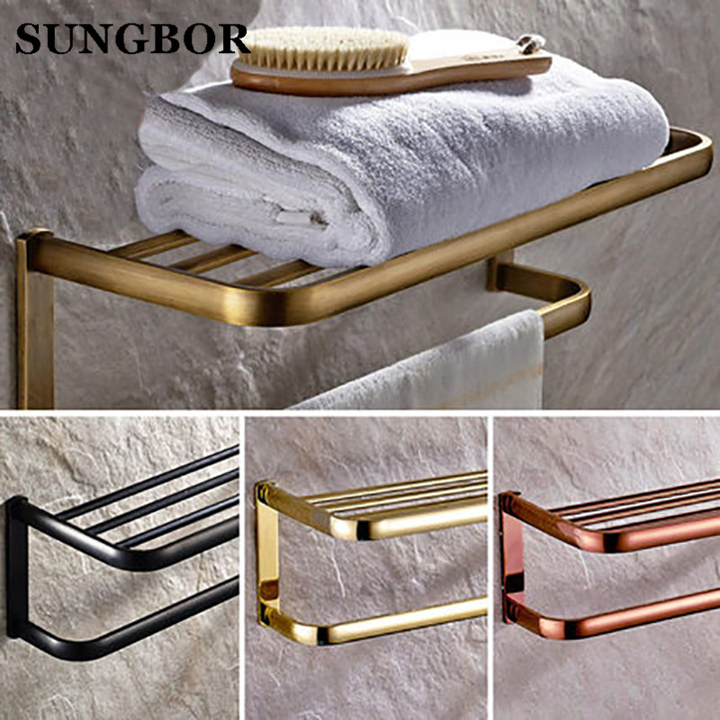 Wholesale And Retail Modern Square Golden Brass Wall Mounted Bathroom Towel Rack Shelf W/ Towel Bar Towel Hangers HY-2212K цена и фото
