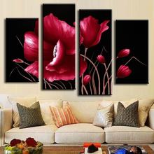 4 Piece NO Framed Canvas Photo Prints Abstract Red Flower posters & prints Paintings Office Artwork Giclee Paintings Home Decor dazzle screen prints diamond paintings