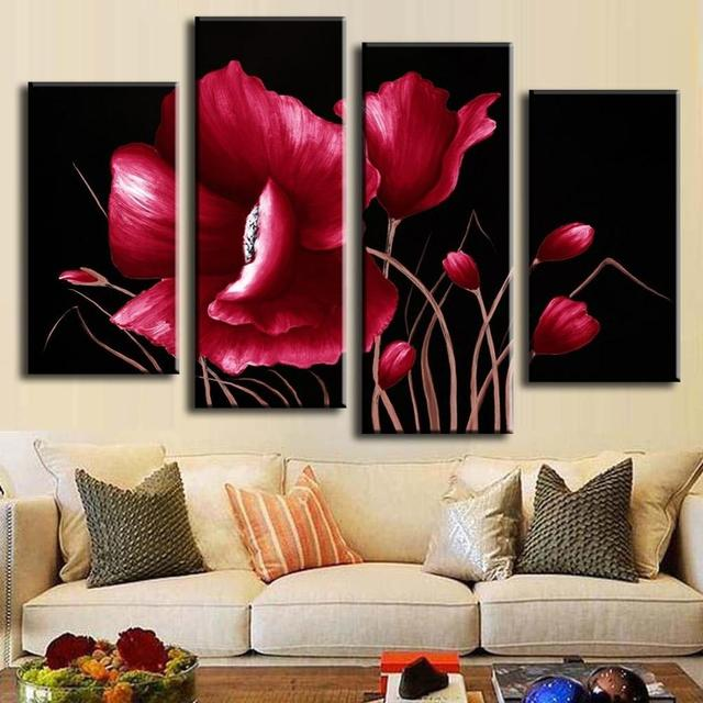 Piece No Framed Canvas Photo Prints Abstract Red Flower Posters Prints Paintings Office Artwork