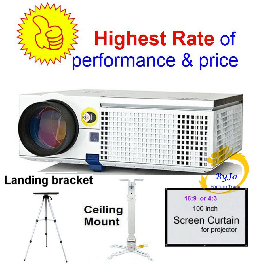 ViEYiNG LED projector HD Optional Ceiling mount Screen Curtain Landing bracket Home theater projector Proyector Pk