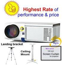 Светодиодный проектор ViEYiNG, HD проектор с дополнительным потолочным креплением, кронштейн для занавески, проектор для домашнего кинотеатра, ...