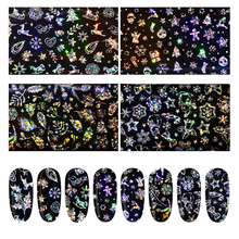 4pcs/set Colorful Laser Starry Sky Nail Foils Stickers Deer Star Design Art Sticker Snowflake Non-sticky