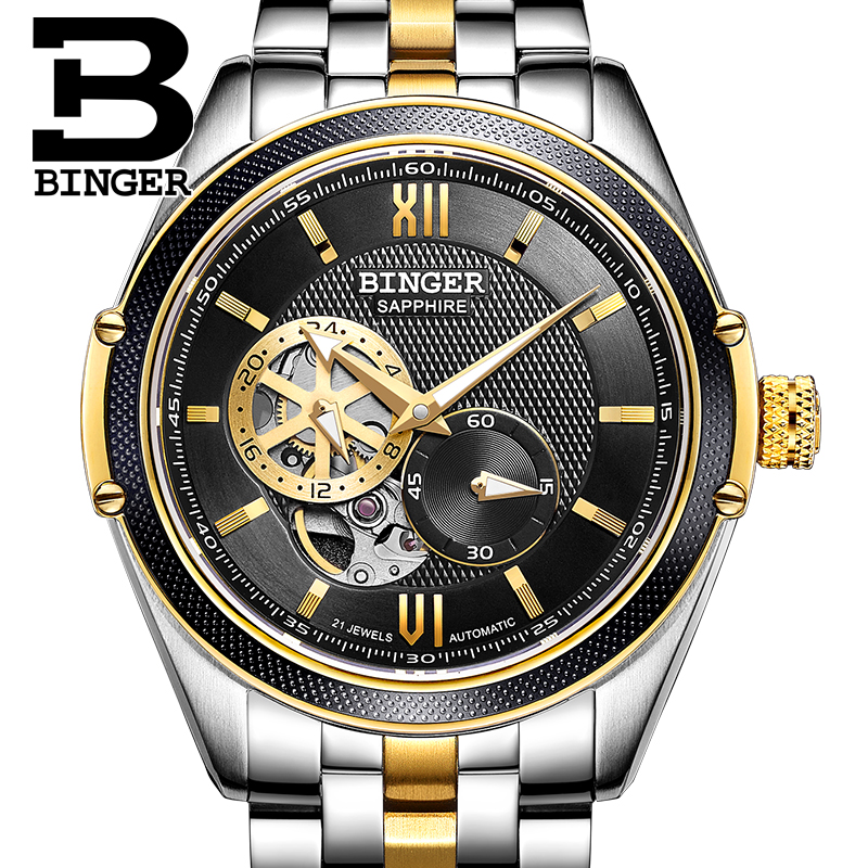 Switzerland Binger Watch Men Luxury Brand Miyota Automatic Mechanical Movement Watches Sapphire Waterproof reloj hombre B-1165-1 switzerland mechanical men watches binger luxury brand skeleton wrist waterproof watch men sapphire male reloj hombre b1175g 3