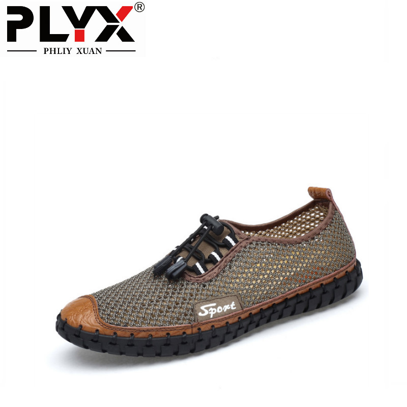 PHLIY XUAN New 2018 Male Sandals Summer Footwear Casual Mesh Shoes Flat Comfortable Breathable Genuine Leather Men Beach Shoes
