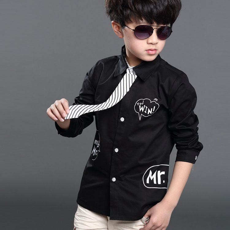 2017 New Letter Printed Kids Formal Shirts For Boys Spring Fall