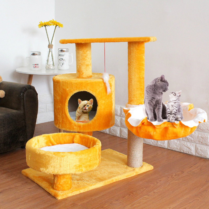 Pet Cat Scratcher Tree Tower Climbing Post Shelf Board Sisal Cat Jumping Platform Play House Furniture Cats Scratching Posts Toy earrings