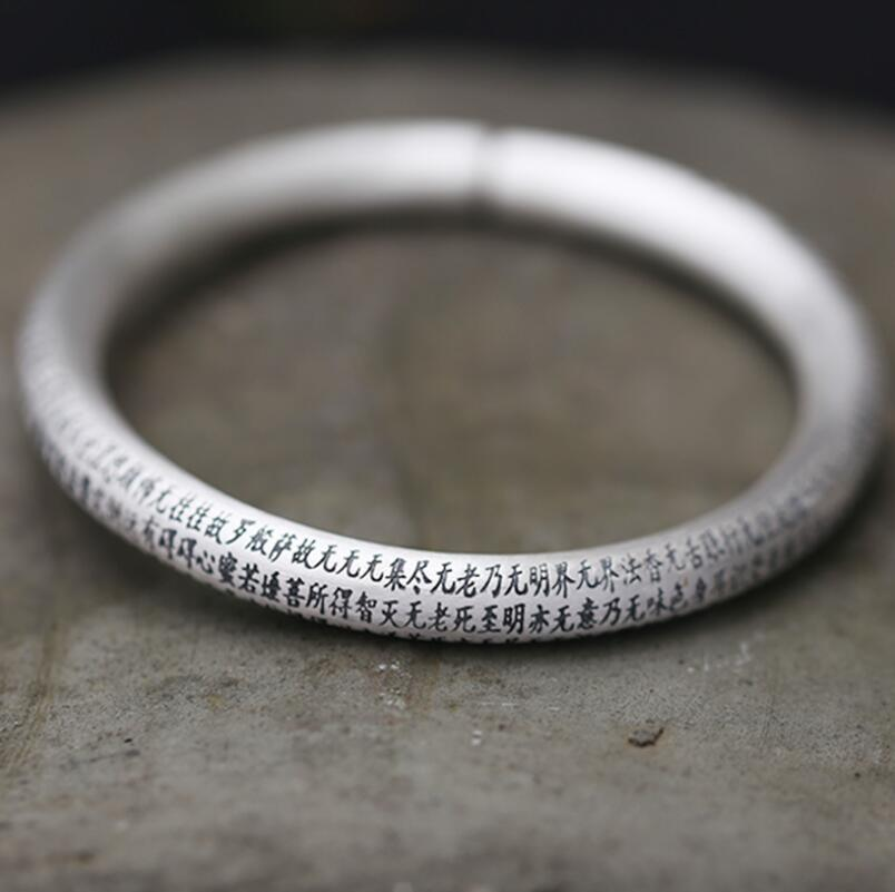 Оригинальный дизайн 999 серебро резные буддийских писаний Женский Открытый браслет