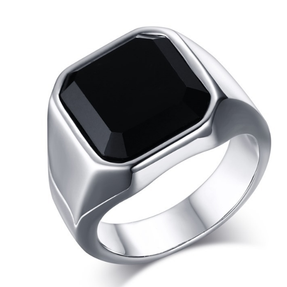 Square Black Onyx Stone Thick Band Ring Men In Titanium Stainless Steel Gold / Silver Color Brief Style Mens Jewelry Large Size Указатель поворота