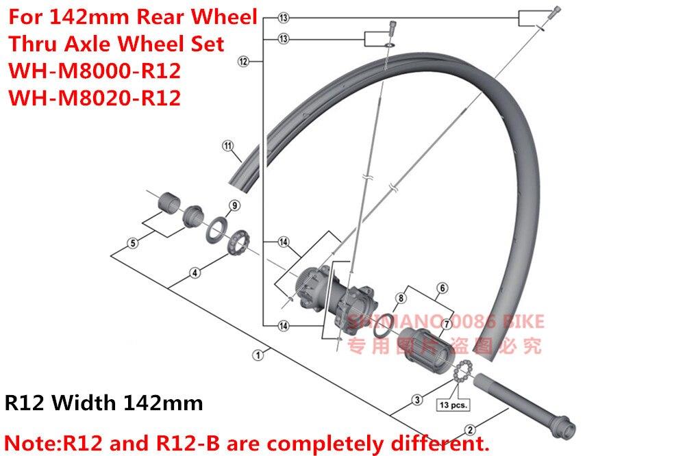 Shimano Mountain Bike WH-M8000 Thru Axle Wheel Set DEORE XT M8020 M8000  F-15 100*15 R-12 142*12mm Hub Axle Unit Cone