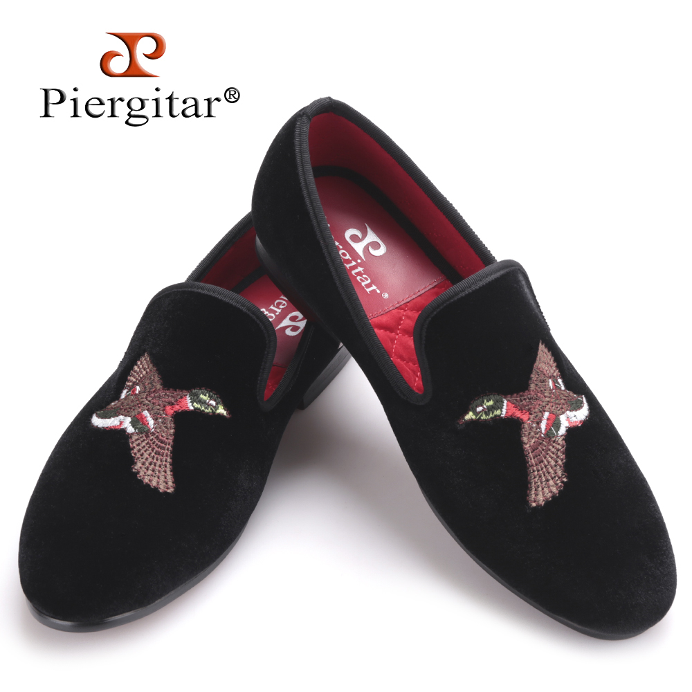 Fashionable Bird Embroidery Men Velvet Shoes Men Party Loafers handmade male banquet slippers Men's Flats Size US 4-17