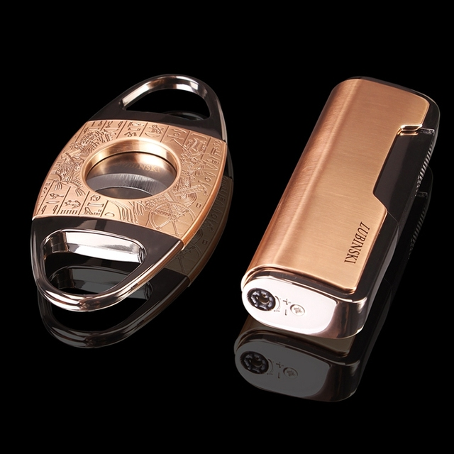 High quality Golden&Bronze Gadgets Metal Cigar Lighter and Cigar Cutter Cigar Gift Set W/ Original Goft Box
