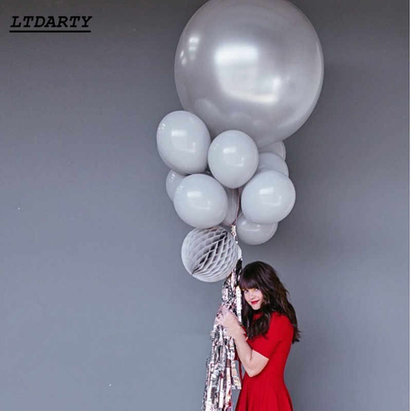 50pcs new popular 10inch  gray balloon mixed color matte latex xenon inflatable wedding birthday party decorative balloons