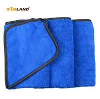 3pcs 40cmx60cm Multi-purpose Microfiber Towel Car Drying Cleaning Cloths Towel Different Sides 400gsm