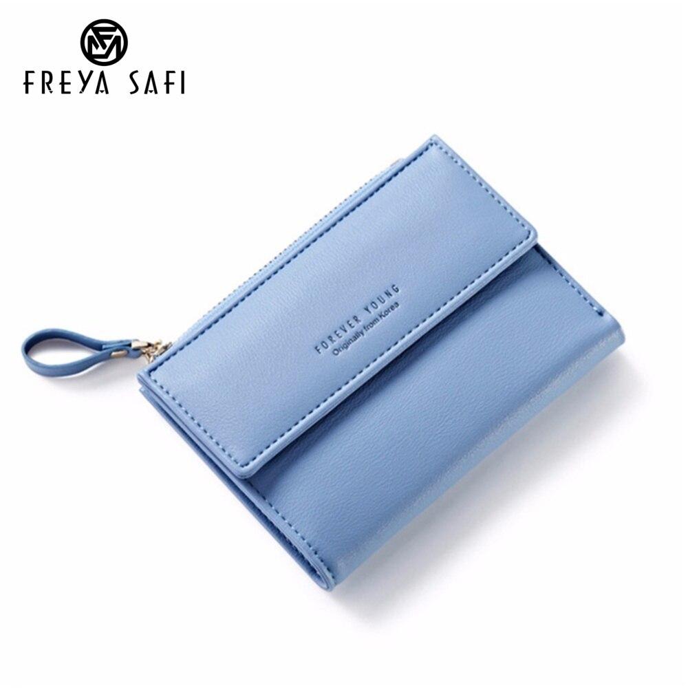 Últimas mujeres billetera de cuero con cremallera moda señora portátil multifunción corto Color sólido monedero femenino caliente Carteras