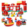 Городской пожарный участок «сделай сам»  строительные блоки большого размера  совместимые с Duploed  игрушки для детей  подарок ребенку