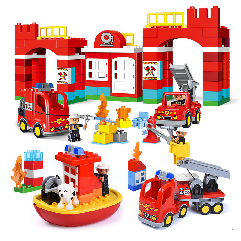 Diy Big Size City Fire Department Firemen Station Building Blocks Compatible With Duploed Hobbies Toys For Children Baby Gift